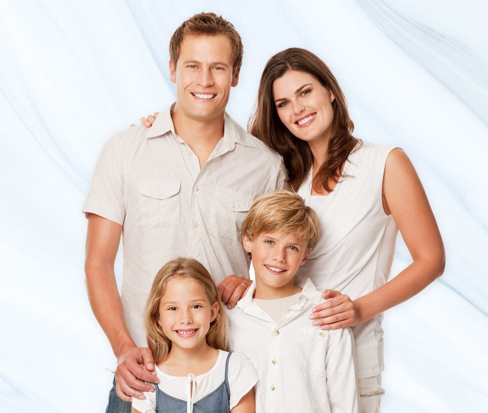 Family of man, woman, son and daughter